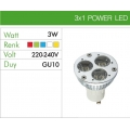 Power Led Ampul 3x1W GU10 220V